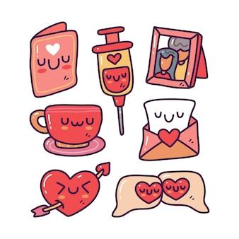 Conjunto de coleta doodle de elemento de dia dos namorados em fundo isolado. feliz dia dos namorados
