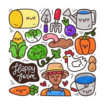 Conjunto de coleta doodle de elemento de fazenda