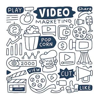 Conjunto de coleta doodle de elemento de marketing de vídeo.