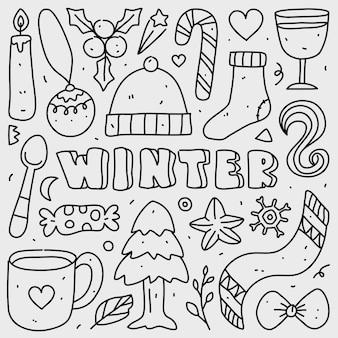 Conjunto de coleta doodle de elemento de natal em branco isolado