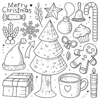 Conjunto de coleta doodle de elemento de natal