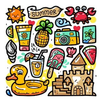Conjunto de coleta doodle de elemento de verão
