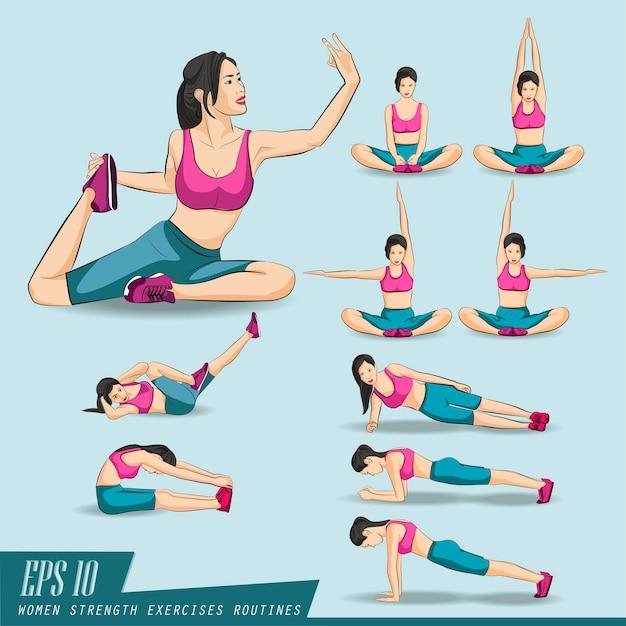 Conjunto de coleta. mulher, fazendo, condicão física, e, ioga, exercícios