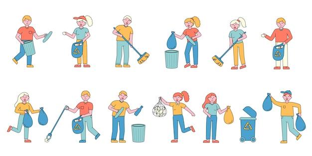 Conjunto de coleta plana de coleta de lixo. pessoas classificando lixo de vidro e plástico em recipientes.