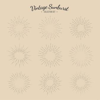 Conjunto de coleta vintage sunburst listras de design gráfico solar retrô