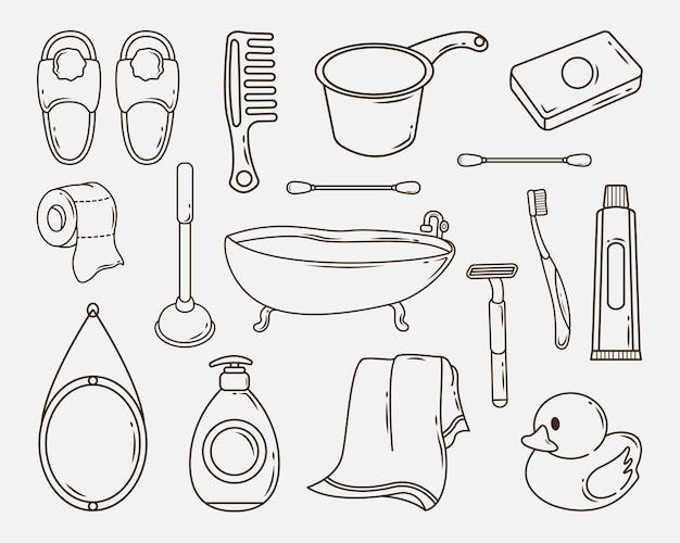 Conjunto de coloração de doodle desenhado à mão no banheiro