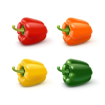Conjunto de colorido amarelo verde laranja e vermelho doce pimentão búlgaro, páprica isolado no branco