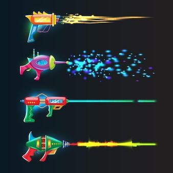 Conjunto de colorido brilhante em blasters de néon escuro com raios brilhantes de tiro.