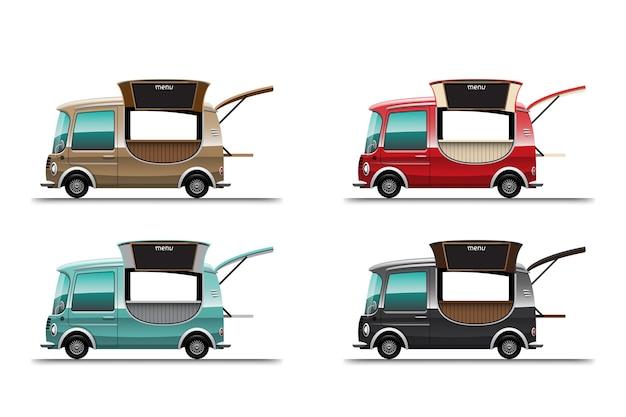 Conjunto de colorido de mini food truck com entrega móvel de comida na rua em fundo branco, ilustração