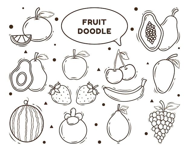Conjunto de colorir estilo doodle de frutas desenhadas à mão