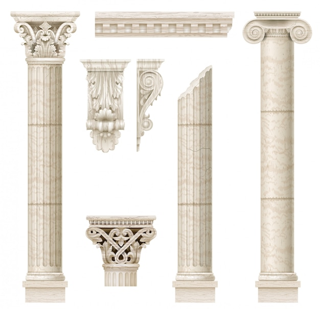 Conjunto de colunas clássicas antigas