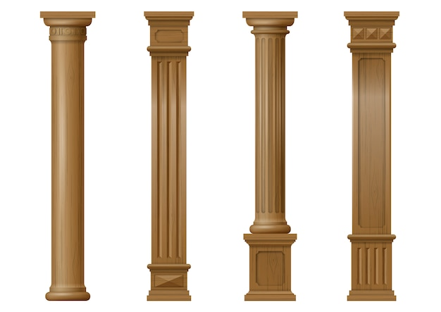 Conjunto de colunas de madeira clássicas