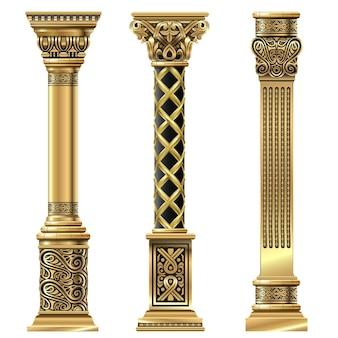 Conjunto de colunas decorativas esculpidas em ouro antigo em estilo oriental. modelos de vetor