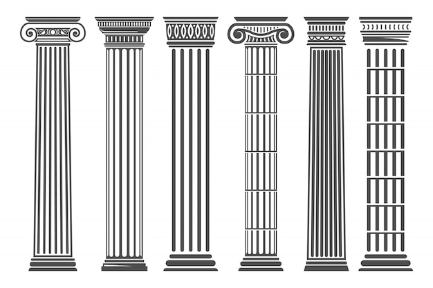 Conjunto de colunas gregas e romanas
