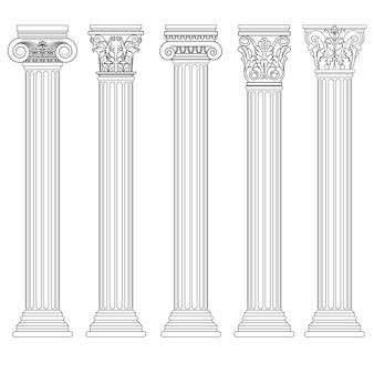 Conjunto de colunas romanas, pilar grego arquitetura antiga, grécia antigas colunas dóricas, jônicas e coríntias.