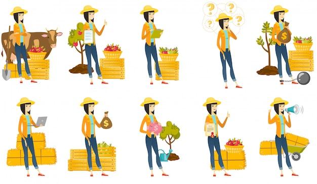 Conjunto de com caracteres de agricultor