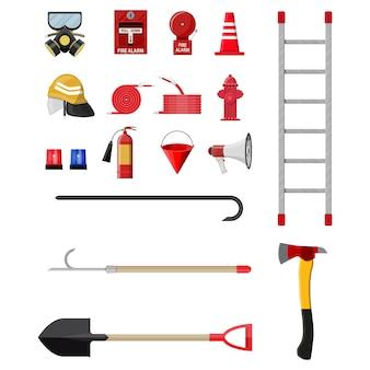 Conjunto de combate a incêndios. equipamento de proteção contra incêndio.