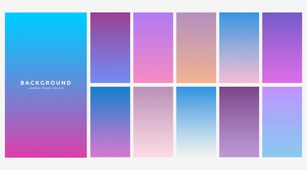 Conjunto de combinação de cores gradiente azul