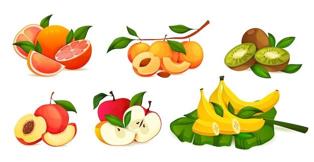 Conjunto de combinação de frutas frescas inteiras e fatiadas
