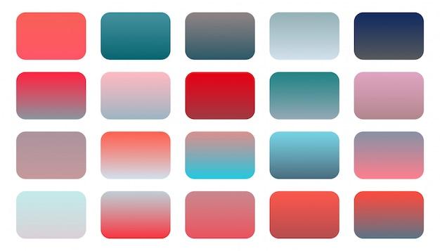 Conjunto de combinação de tons gradiente de vermelho e rosa