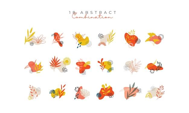 Conjunto de combinações botânicas de variedades com cores brilhantes