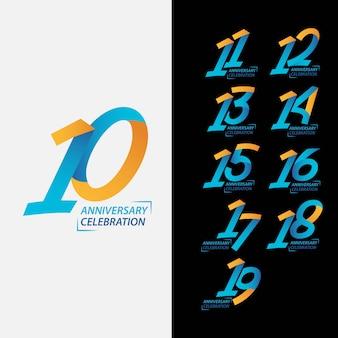 Conjunto de comemoração de aniversário de 10 anos