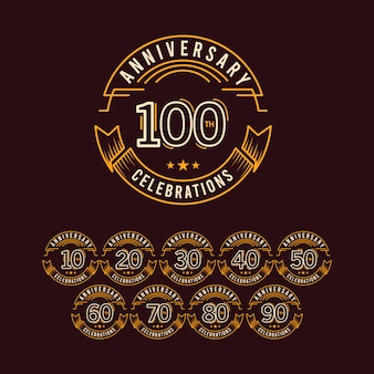 Conjunto de comemoração de aniversário de 100 anos modelo design ilustração