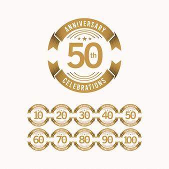 Conjunto de comemoração de aniversário de 50 anos modelo design ilustração