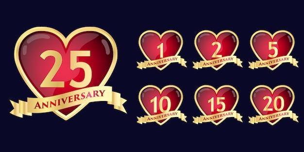 Conjunto de comemoração de aniversário rodada design de modelo de distintivo de estilo de flor emblema com evento de celebração