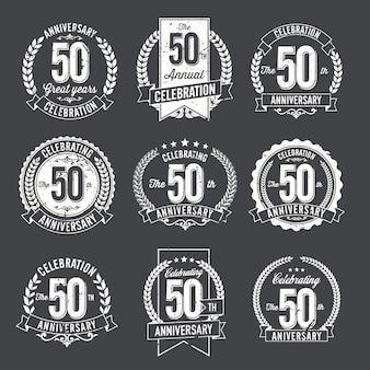 Conjunto de comemoração de distintivos de aniversário vintage