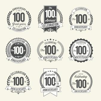 Conjunto de comemoração do ano dos emblemas de aniversário retrô