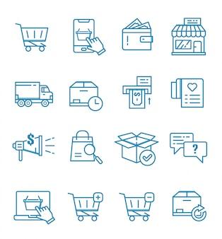 Conjunto de comércio eletrônico, loja online e ícones de compras com estilo de estrutura de tópicos