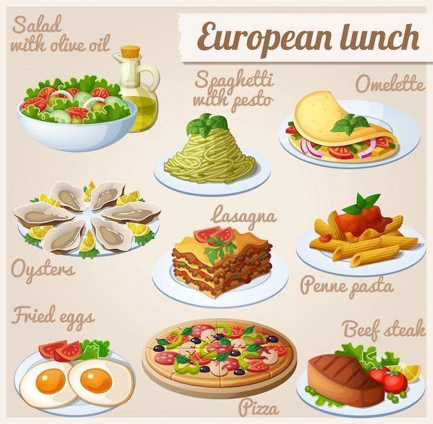 Conjunto de comida almoço europeu