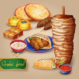 Conjunto de comida árabe