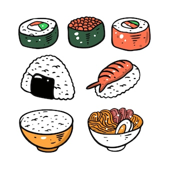 Conjunto de comida asiática diferente.