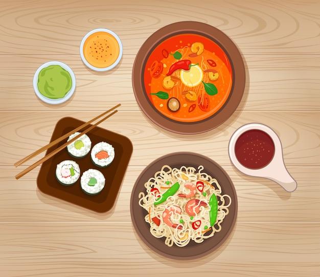 Conjunto de comida asiática. macarrão com camarão e legumes, sopa picante, sushi e vários molhos. ilustração vetorial