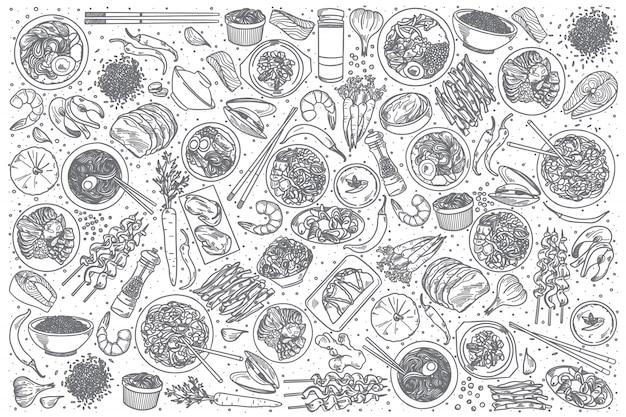 Conjunto de comida coreana de mão desenhada