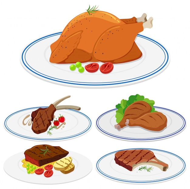 Conjunto de comida de carne na chapa
