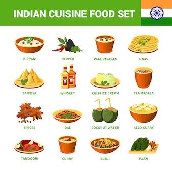 Conjunto de comida de cozinha indiana