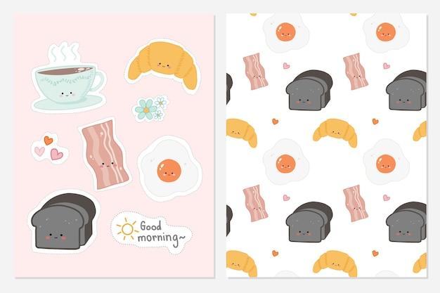 Conjunto de comida de giro mão desenhada no café da manhã com plano de fundo padrão sem emenda.