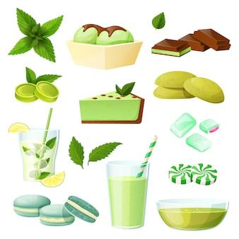 Conjunto de comida de hortelã, coleção de sobremesas e bebidas em branco, ilustração
