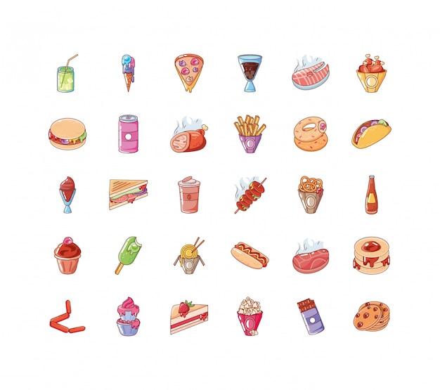 Conjunto de comida de ícones no fundo branco