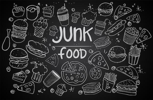 Conjunto de comida de mão desenhada isolada em fundo preto, doodle conjunto de fast food. ilustração vetorial