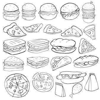 Conjunto de comida de mão desenhada isolado no fundo branco, conjunto de fast food de doodle. ilustração vetorial