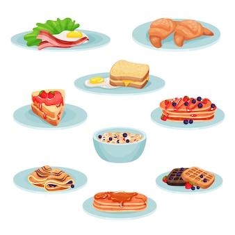 Conjunto de comida de menu de café da manhã, acon, ovos fritos, croissant, sanduíche, panquecas, muesli, bolachas ilustração sobre um fundo branco