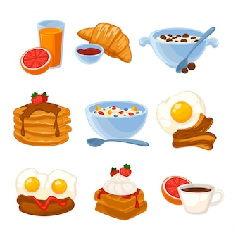 Conjunto de comida de pequeno-almoço de vetor