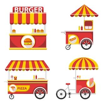 Conjunto de comida de rua plana stand ícones e elementos