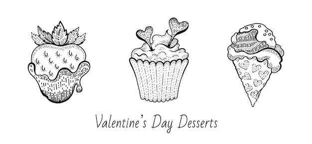 Conjunto de comida de sobremesa de esboço de dia dos namorados.