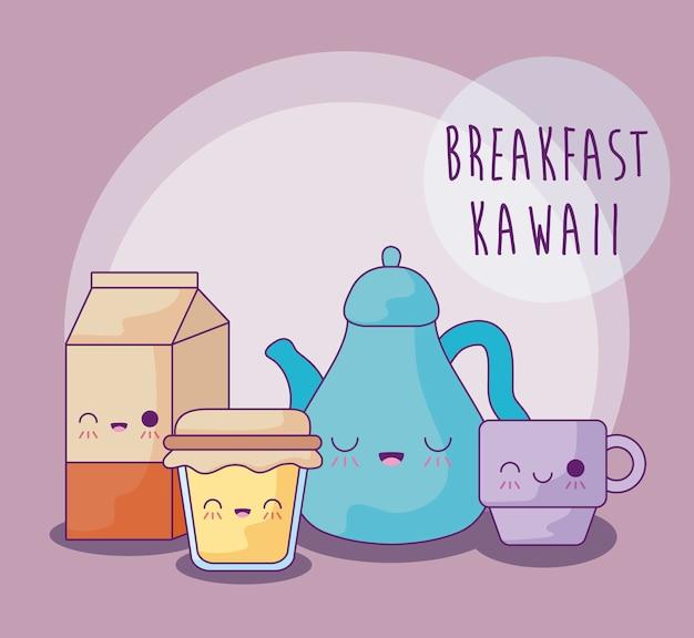 Conjunto de comida deliciosa no café da manhã estilo kawaii