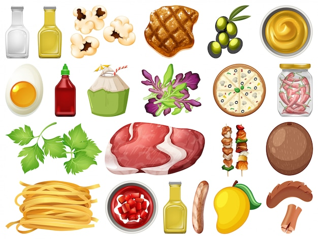 Conjunto de comida diferente